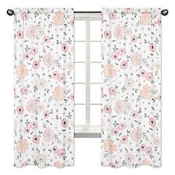 Sweet Jojo Designs Watercolor Floral 84-Inch Window Panels in Pink/Grey (Set of 2)