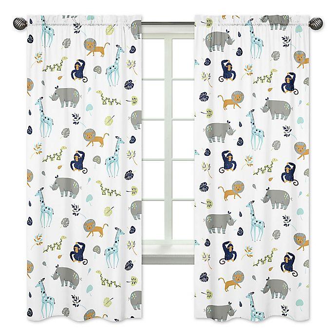 Alternate image 1 for Sweet Jojo Designs Mod Jungle Safari Animal Print 84-Inch Window Panels (Set of 2)