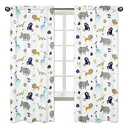 Sweet Jojo Designs Mod Jungle Safari Animal Print 84-Inch Window Panels (Set of 2)