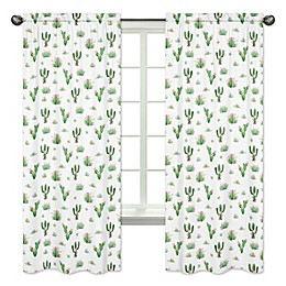 Sweet Jojo Designs Cactus Floral 84-Inch Rod Pocket Window Curtain Panel Pair