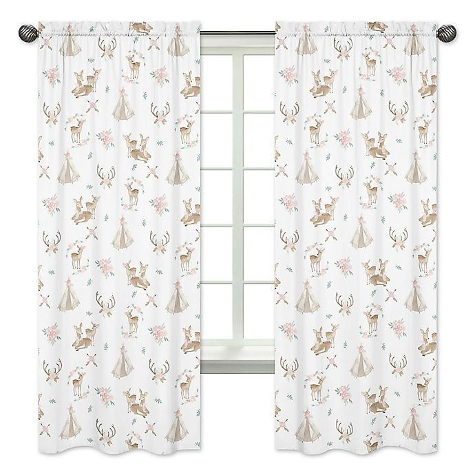 Alternate image 1 for Sweet Jojo Designs Deer Floral Window Panel Pair