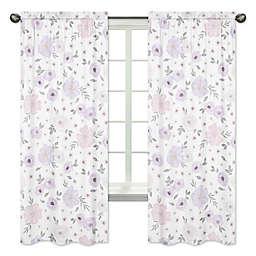 Sweet Jojo Designs Watercolor Floral 84-Inch Window Panels in Lavender/Grey (Set of 2)