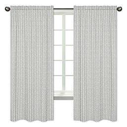 Sweet Jojo Designs Herringbone 84-Inch Window Curtain Panels in Grey (Set of 2)