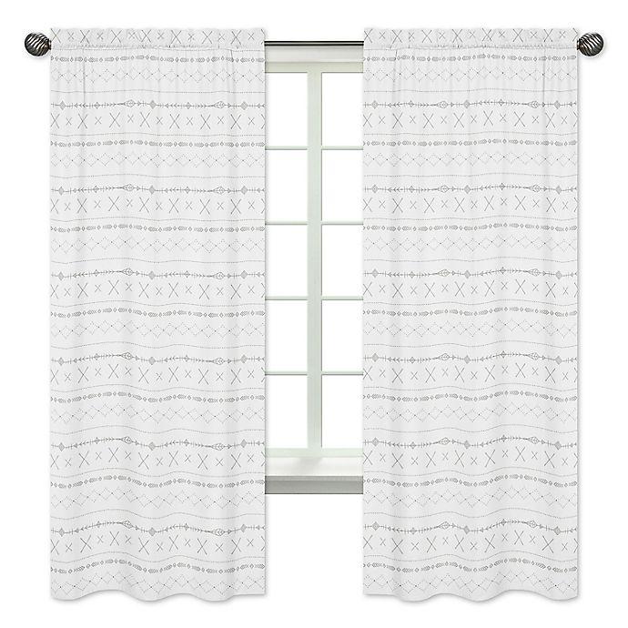 Alternate image 1 for Sweet Jojo Designs Boho Print 84-Inch Window Curtain Panels in Grey (Set of 2)