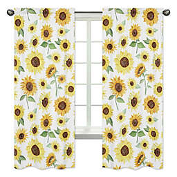Sweet Jojo Designs Sunflower 84-Inch Window Curtain Panels in Yellow/Green (Set of 2)