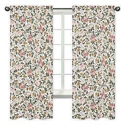 Sweet Jojo Designs Vintage Floral 84-Inch Window Curtain Panels in Pink/Green (Set of 2)