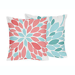Sweet Jojo Designs® Emma Throw Pillows in White/ Turquoise (Set of 2)