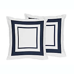 Sweet Jojo Designs Hotel Collection Throw Pillows in White/Navy (Set of 2)