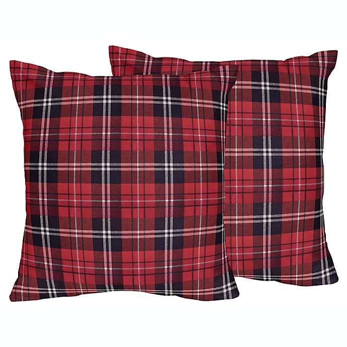 Alternate image 1 for Sweet Jojo Designs Rustic Patch Plaid Flannel Square Throw Pillows in Red/Black (Set of 2)