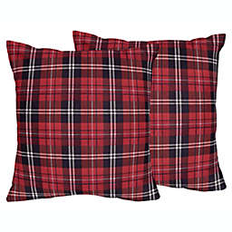 Sweet Jojo Designs Rustic Patch Plaid Flannel Square Throw Pillows in Red/Black (Set of 2)