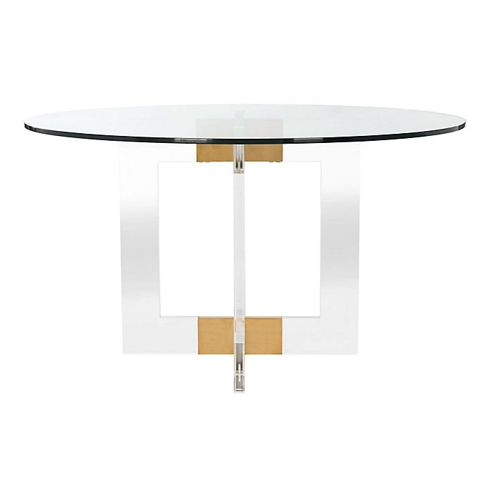 Safavieh Xevera Glass And Acrylic Round Dining Table Bed Bath Beyond