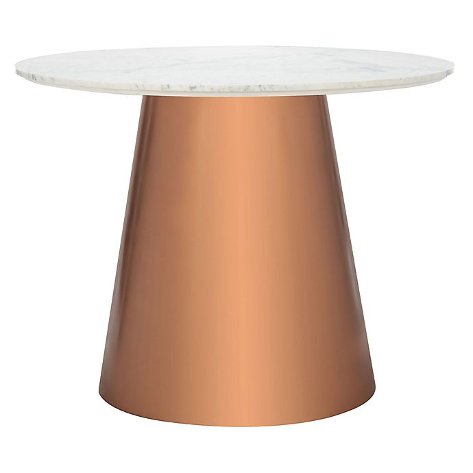 Safavieh Gail 40 Inch Round Marble Dining Table In White Copper Bed Bath Beyond
