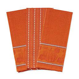 DII® Harvest Embellishmed Kitchen Towels in Burnt Orange (Set of 3)