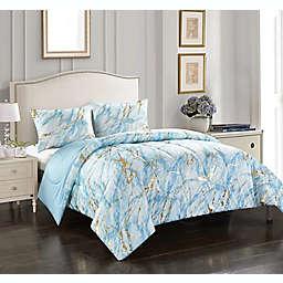 Heritage Kids Marble Reversible Comforter Set in Blue