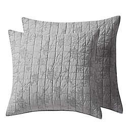 Homthreads Bowie European Pillow Shams in Light Grey (Set of 2)