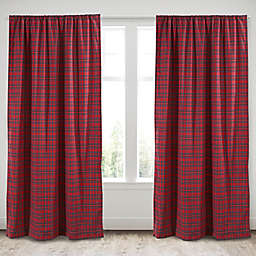 Levtex Home Plaid 2-Pack 84-Inch Rod Pocket Window Curtain Panels in Red