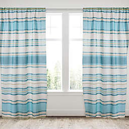 Levtex Home Blue Maui 2-Pack Rod Pocket Window Curtain Panels in Blue/Taupe