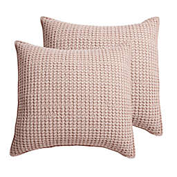 Levtex Home Mills Waffle European Pillow Sham in Blush (Set of 2)
