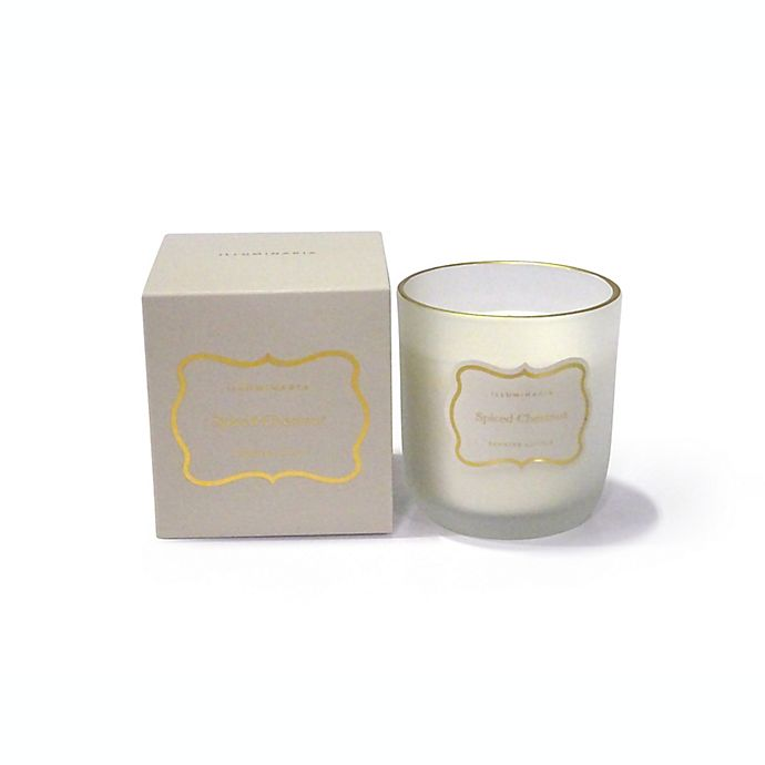 Alternate image 1 for Zodax Spiced Chestnut Small Frosted Boxed Jar Candle with Gold Rim in Cream