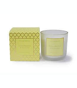 Vela en tarro mediana Zodax aroma a bambú y lavanda con borde dorado