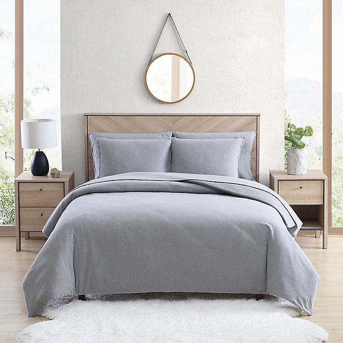 Alternate image 1 for UGG® Juvie 3-Piece King Flannel Duvet Cover Set in Heather Grey
