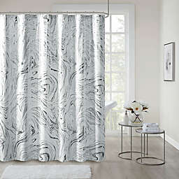 Intelligent Design Rebecca Printed Marble Metallic Shower Curtain