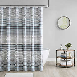 Urban Habitat Calum Cotton Yarn Dye Shower Curtain with Pom Poms