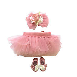 Toby Signature™ Size 0-6M 3-Piece Tulle Headband, Tutu, and Mary Jane Set in Rose Quartz