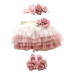 Toby Signature™ Size 0-6M 3-Piece Dusty Rosettes Headband, Tutu, and Mary Jane Set in Rose