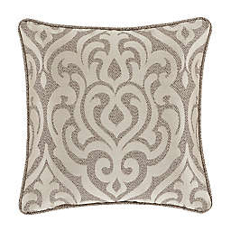J. Queen New York Milan Damask Square Throw Pillow in Oatmeal