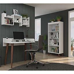 Manhattan Comfort Hampton 3-Piece Home Office Set in White