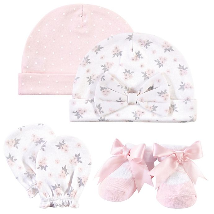 Alternate image 1 for Hudson Baby® Size 0-6M 4-Piece Floral Cap, Scratch Mitten, and Sock Set in Pink