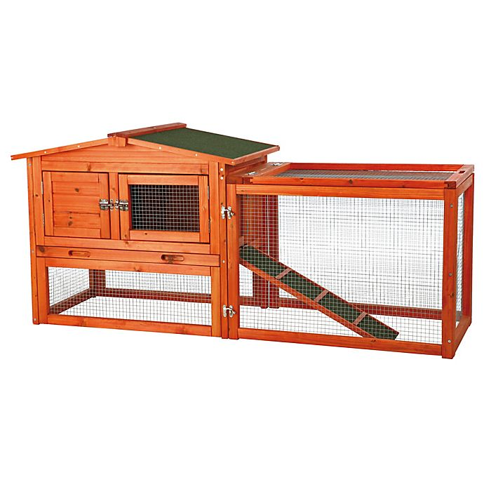 Alternate image 1 for TRIXIE Pet Products Natura Extra-Small 2-Story Small Animal Hutch with Outdoor Run in Brown
