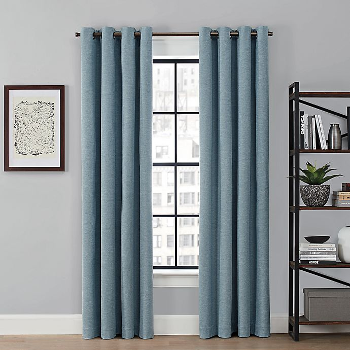 Alternate image 1 for Brookstone® Saville Dual Technology 100% Blackout & Draft-Blocking Grommet Window Curtain