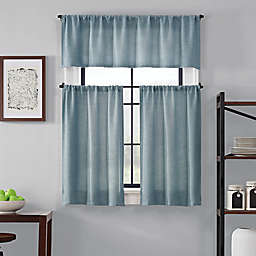 Brookstone® Saville 36-Inch Kitchen Window Curtain Tier Pair and Valance in Blue