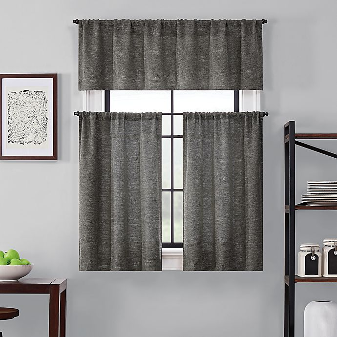Alternate image 1 for Brookstone® Saville 24-Inch Kitchen Window Curtain Tier Pair and Valance in Characoal