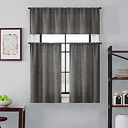 Brookstone® Saville 24-Inch Kitchen Window Curtain Tier Pair and Valance in Characoal