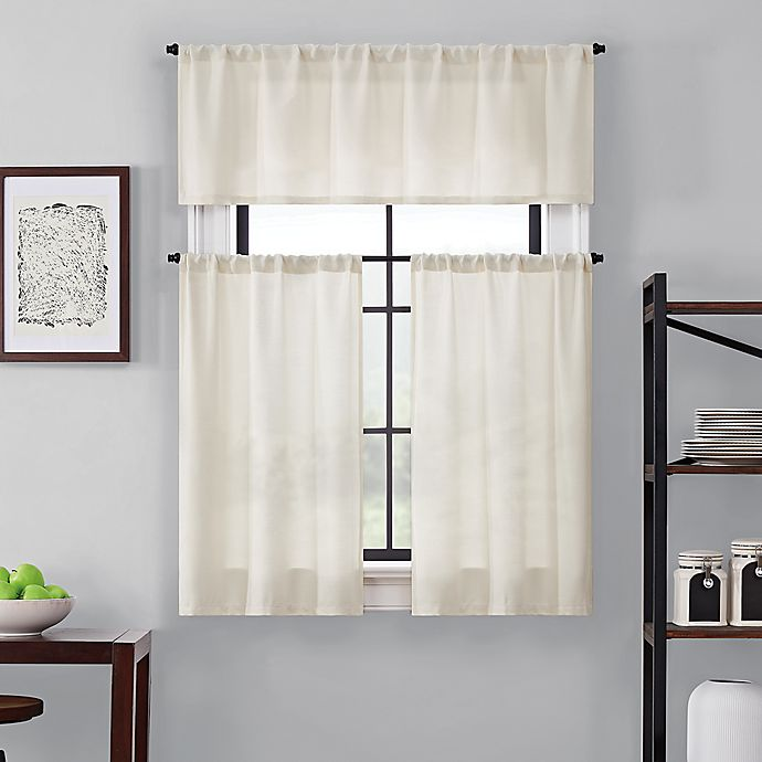 Alternate image 1 for Brookstone® Saville Kitchen Window Curtain Tier Pair and Valance