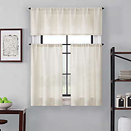 Brookstone® Saville 36-Inch Kitchen Window Curtain Tier Pair and Valance in Ivory