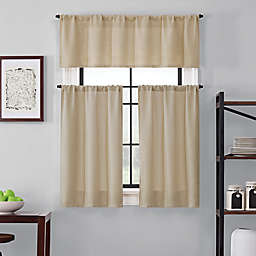 Brookstone® Saville 36-Inch Kitchen Window Curtain Tier Pair and Valance in Sand