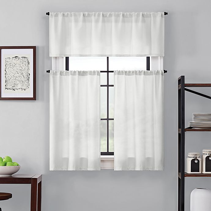Alternate image 1 for Brookstone® Saville 24-Inch Kitchen Window Curtain Tier Pair and Valance in White