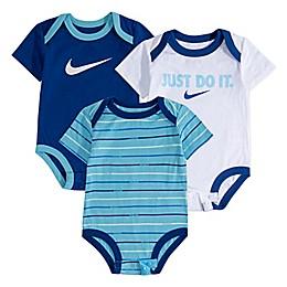 Nike® 3-Pack Striped Bodysuits in Blue