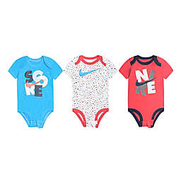 Nike® Size 9M 3-Pack Short Sleeve Bodysuits in Red/White/Blue