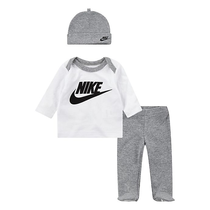 Alternate image 1 for Nike® Preemie 3-Piece Futura Shirt, Footed Pant, and Hat Set