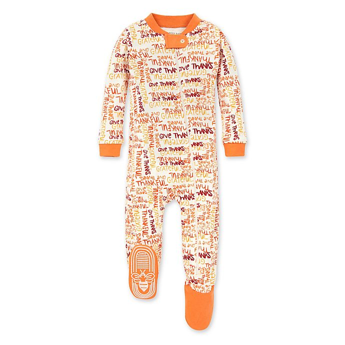 Alternate image 1 for Burt's Bees Baby® Thankful Footed Pajama in Carrot