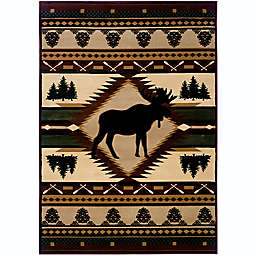 United Weavers Contours Moose Wilderness Area Rug in Toffee