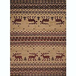 United Weavers Embroidered Moose Rug in Natural