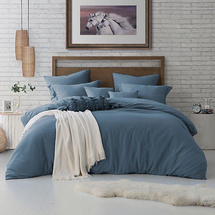 Alternate image 1 for Swift Home CrinklePre-Washed Microfiber 3-Piece Full/Queen Duvet Cover Set in Blue Dusk