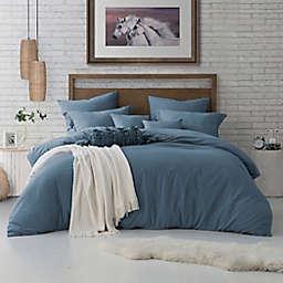 Swift Home Crinkle Pre-Washed Microfiber 3-Piece King/California King Duvet Cover Set in Blue Dusk