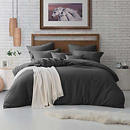Swift Home Crinkle Pre-Washed Microfiber 3-Piece King/Cal King Duvet Cover Set in Charcoal Grey